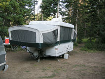 Camping. Image of a tent trailer set up ready for camping stock photos
