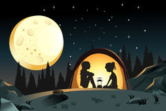 Camping. A vector illustration of two girls camping in the wilderness Stock Photo