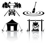 Camping. Set of black camping icons, illustration Royalty Free Stock Photography