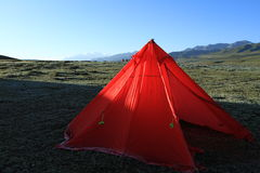 Camping. Beside the Snow Mountain Stock Photo