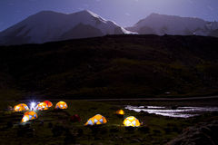 Camping. Beside the Snow Mountain Stock Image