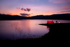 Camping Sunset Stock Photography