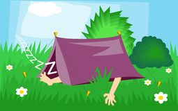 Camping. Cartoon illustration of a camper snoozing in his outdoor tent stock illustration