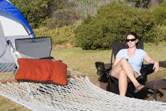 Camping. Relaxing at a spacious campsite Royalty Free Stock Image