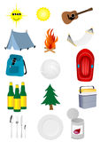 Camping. Set of detailed camping and excursion elements Royalty Free Stock Photography