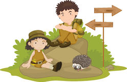 Camping. An illustration of a boy and girl camping Royalty Free Stock Images