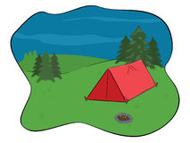 Camping. Campsite in the wilderness with red tent and smoldering campfire Stock Image