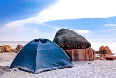 Camping. Activities at Tropical Beach royalty free stock photography