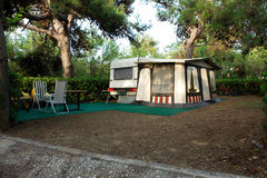 Camping. At Thassos island, Greece royalty free stock image