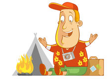 Camping. Abe The Tourist - making a campfire Royalty Free Stock Photo