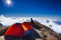Camping above the cloud Royalty Free Stock Photo