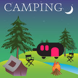 Camping. Abstract colorful background with a car caravan trailer, chairs, a small tent and a night fire in the middle of the nature. Camping theme Stock Photo