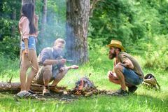 Camping activity. Company youth camping forest roasting marshmallows. Company friends prepare roasted marshmallows snack. Nature background. Roasting stock image