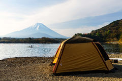 Camping and activity at Shoji lake. Camping and recreation activity at Shoji lake with Mt. Fuji view, Japan stock image