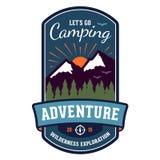 Camping adventure badge emblem. Camping wilderness adventure badge graphic design emblem Royalty Free Stock Images