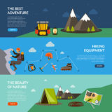 Camping Adventure Banner Set Stock Photos