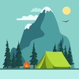 Camping Adventure, bonfire fire and tent, vector Stock Photo