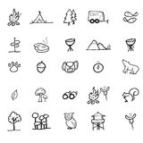 Camping adventure icons set Royalty Free Stock Photos