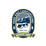 Camping outdoor mountain adventure club vector icon. Camping adventure or mountain camp and outdoor hiking club badge design. Vector isolated icon of campground Stock Image