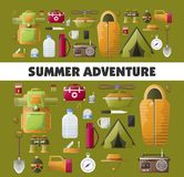 Summer camping adventure vector poster. Camping adventure poster for summer camp club or scout expedition. Vector camping and hiking tools icons of tent Stock Photo
