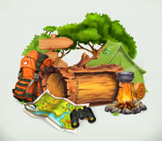 Camping and adventure time vector royalty free illustration