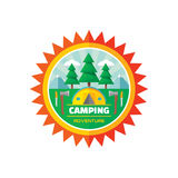 Camping adventure - vector badge illustration in flat style Royalty Free Stock Photos