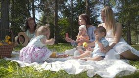 Camping, amis sur la pelouse verte au pique-nique, l'enfant à l'air frais banque de vidéos