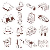 Camping And Hiking Isometric Monochrome Icons Stock Images