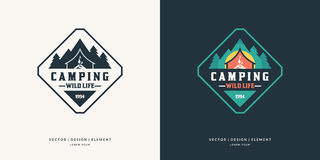 Camping And Outdoor Adventure Retro Logo. Royalty Free Stock Photo