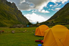 Camping in the Andes Royalty Free Stock Images