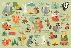 Camping Animals hand drawn style, Calligraphy and other elements. Stock Photo