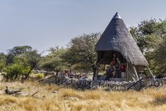 Open cabin for wildlife watching in Okaukuejo Waterhole in Etosha National Park.