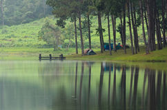Camping At Pang Ung. Beautiful Forest Lake In The Morning Stock Images