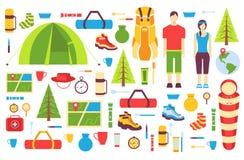 Camping-Ausflugs-Kartensatz Wandern der Schablone von flyear, Zeitschriften, Poster, Bucheinband, Fahnen Trave-tourl infographic Lizenzfreie Stockfotografie
