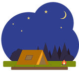 Camping on a background of the night sky. Flat design,  illustration Royalty Free Stock Photography