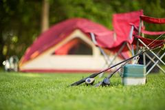 Camping background of a tent with copy space. Stock Photography