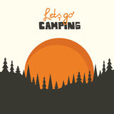 Camping background. Camping vector background with sun and forest
