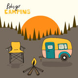 Camping background. Camping vector background with sun and forest Stock Photography