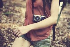Camping Backpacker Photographer Camera Adventure Concept Stock Photos