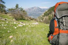 Camping with backpacks in the mountains. Stock Photography