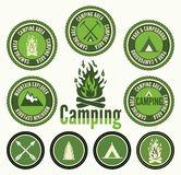 Camping badges and labels Royalty Free Stock Photos