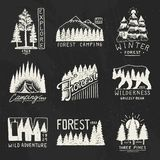 Camping badges, mountains coniferous forest and wooden logo. wild nature. landscapes with pine trees and hills. emblem. Tent tourist, travel for labels Stock Images