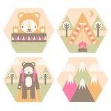 Camping Badges Stock Photography