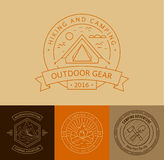 Camping badges set in thin line style. Stock Image