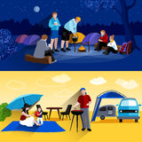 Camping Banners Set. Camping horizontal banners set with camp at night and picnic symbols flat isolated vector illustration Royalty Free Stock Image
