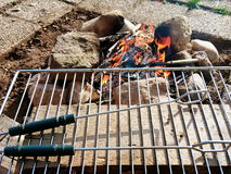 Camping BBQ made of stone Stock Photography