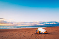 Camping on the Beach Royalty Free Stock Image