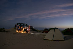 Camping on beach. Relaxed night time on Australian desert Royalty Free Stock Photo