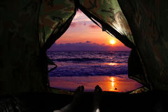 Camping on the beach. stock photography