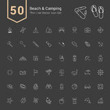 Camping & Beach Icon Set. 50 Thin Line Vector Icons. Camping & Beach Icon Set. 50 Thin Line Vector Icons illustration vector illustration